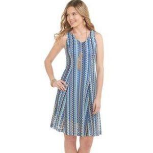🆕Cato Blue Zig Zag Crochet Lace V Neck Dress